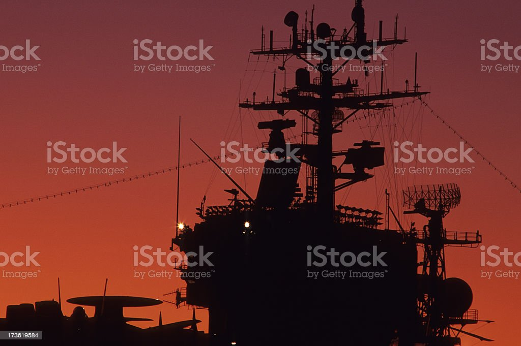 Aircraft carrier at sunset royalty-free stock photo