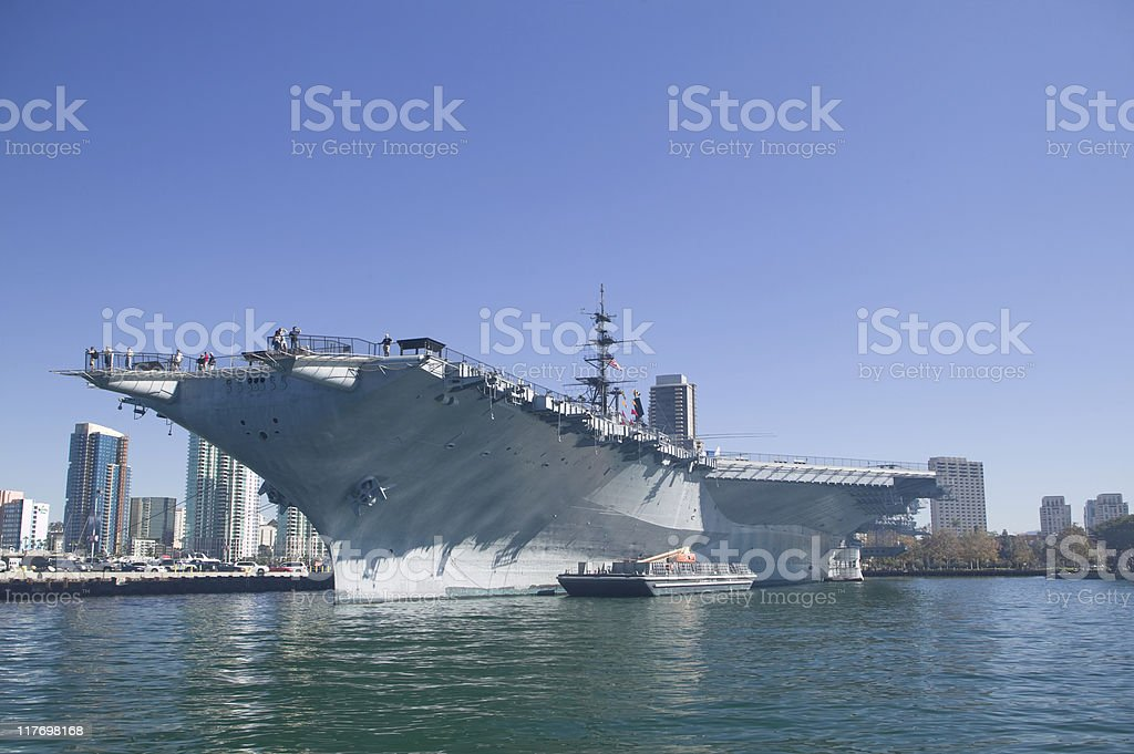 Aircraft Carrier Docked stock photo