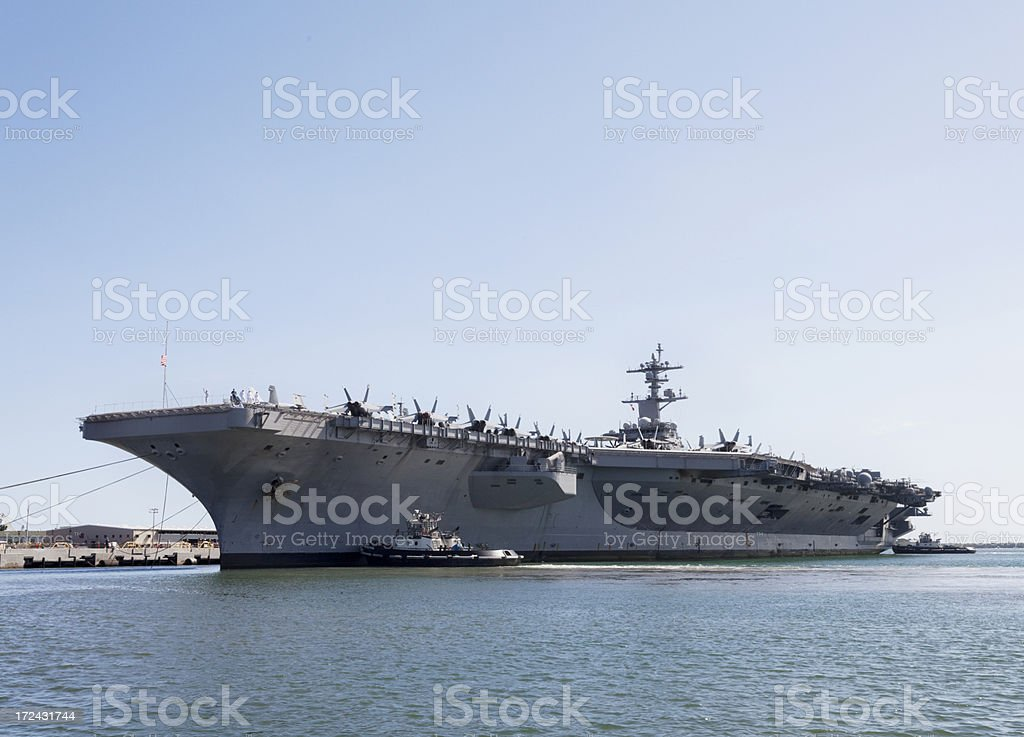 Aircraft carrier in the sea royalty-free stock photo