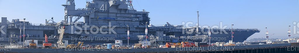 Aircraft carrier Midway in San Diego port royalty-free stock photo