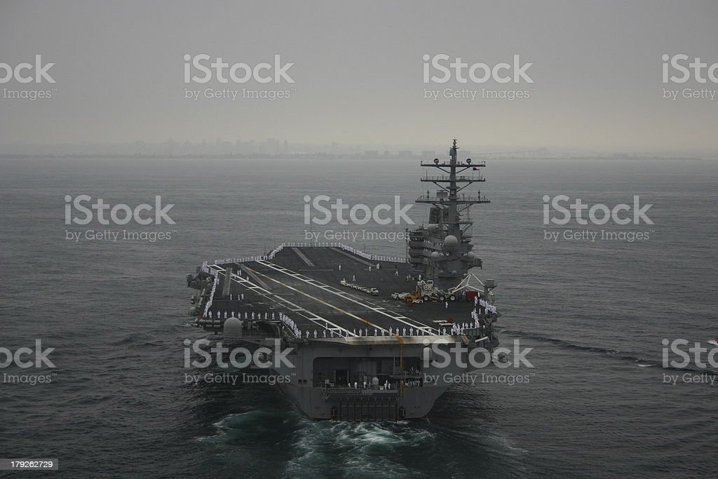 Aircraft Carrier off San Diego stock photo