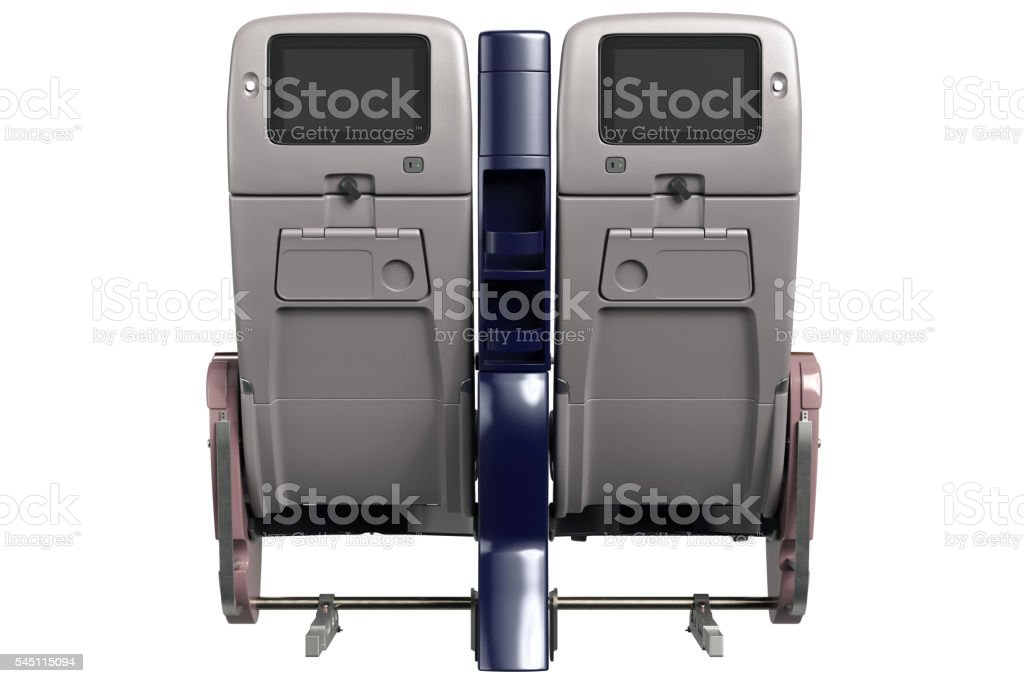 Aircraft chairs with screen, back view stock photo