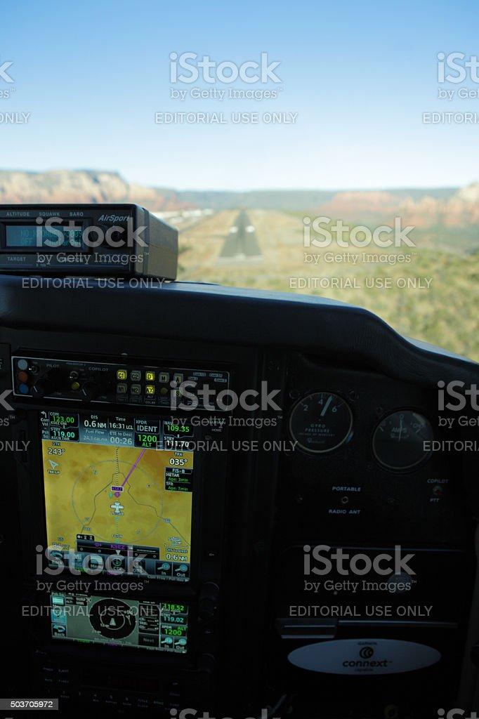 Aircraft Cockpit Airport Runway Landing stock photo
