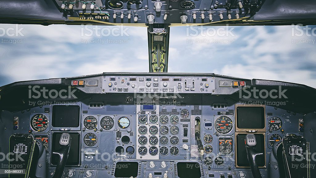 Aircraft dashboard. View inside the pilot's cabin. stock photo