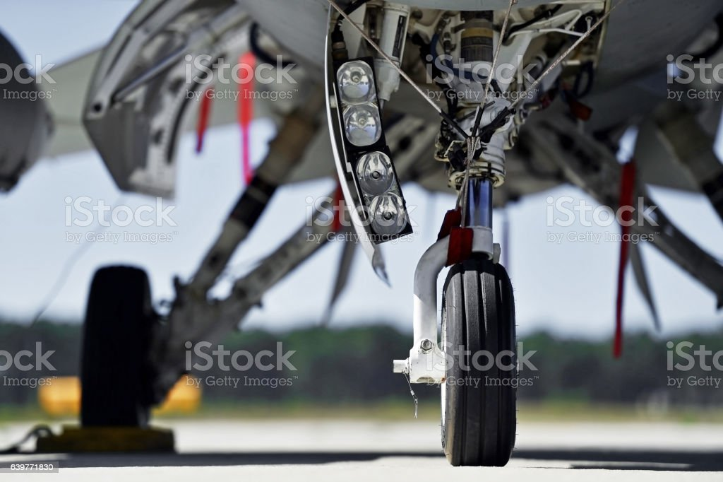 Aircraft detail with landing gear stock photo