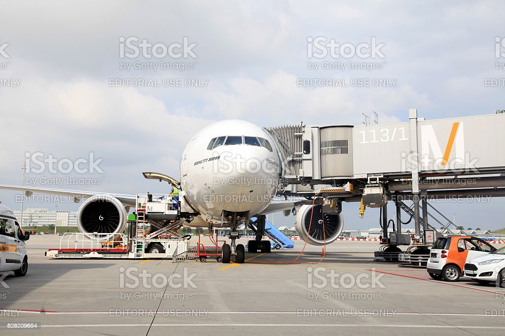 Aircraft docked in the Munich International Airport, Germany stock photo