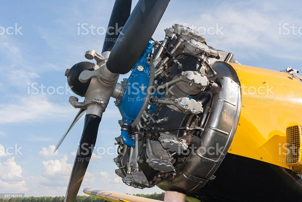 Aircraft engine and propeller stock photo