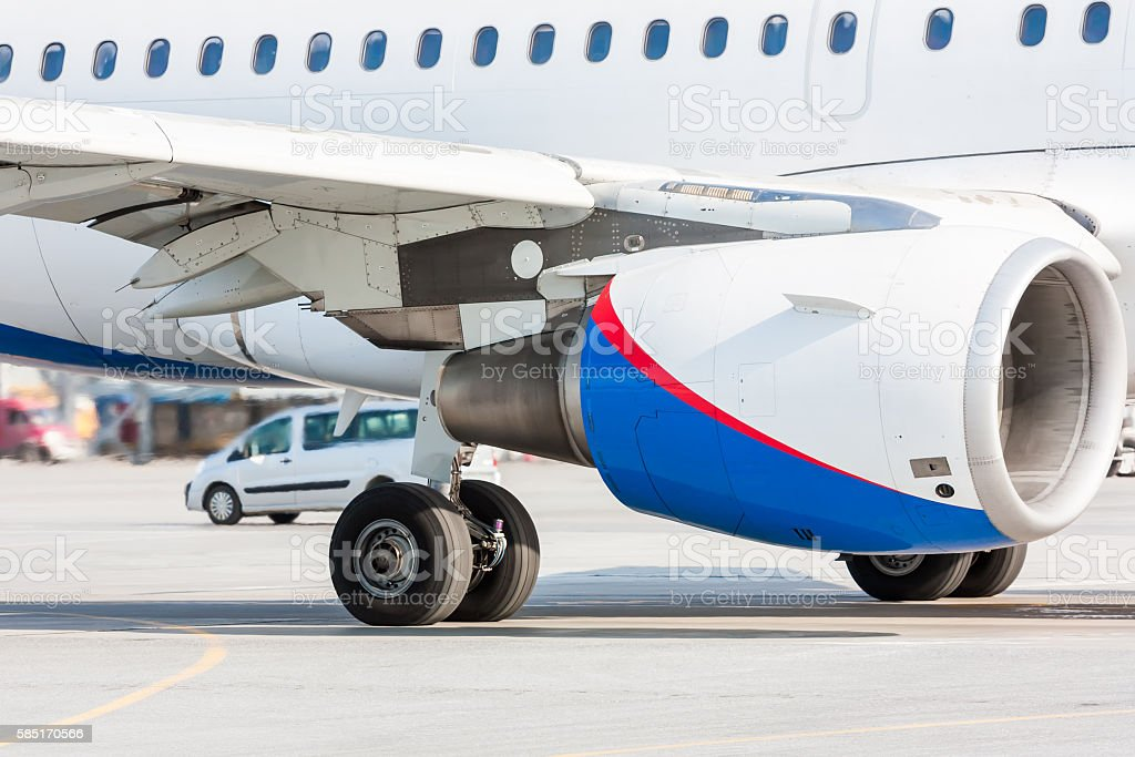 Aircraft engine, main landing gear and part of wing royalty-free stock photo