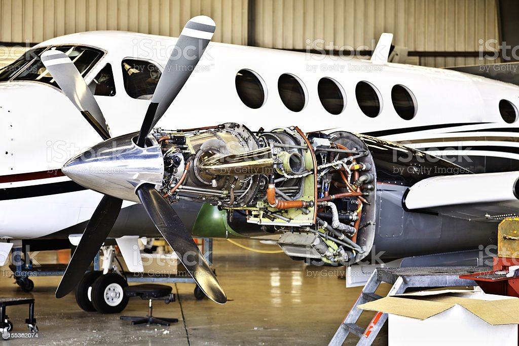Aircraft engine maintenance royalty-free stock photo