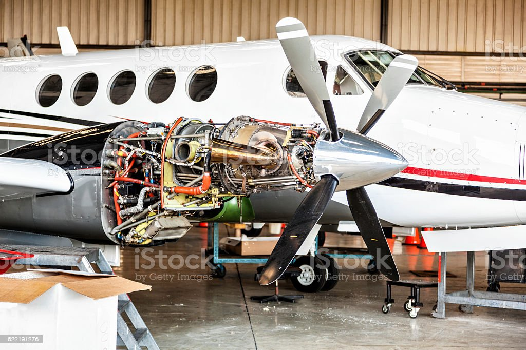 Aircraft engine maintenance stock photo