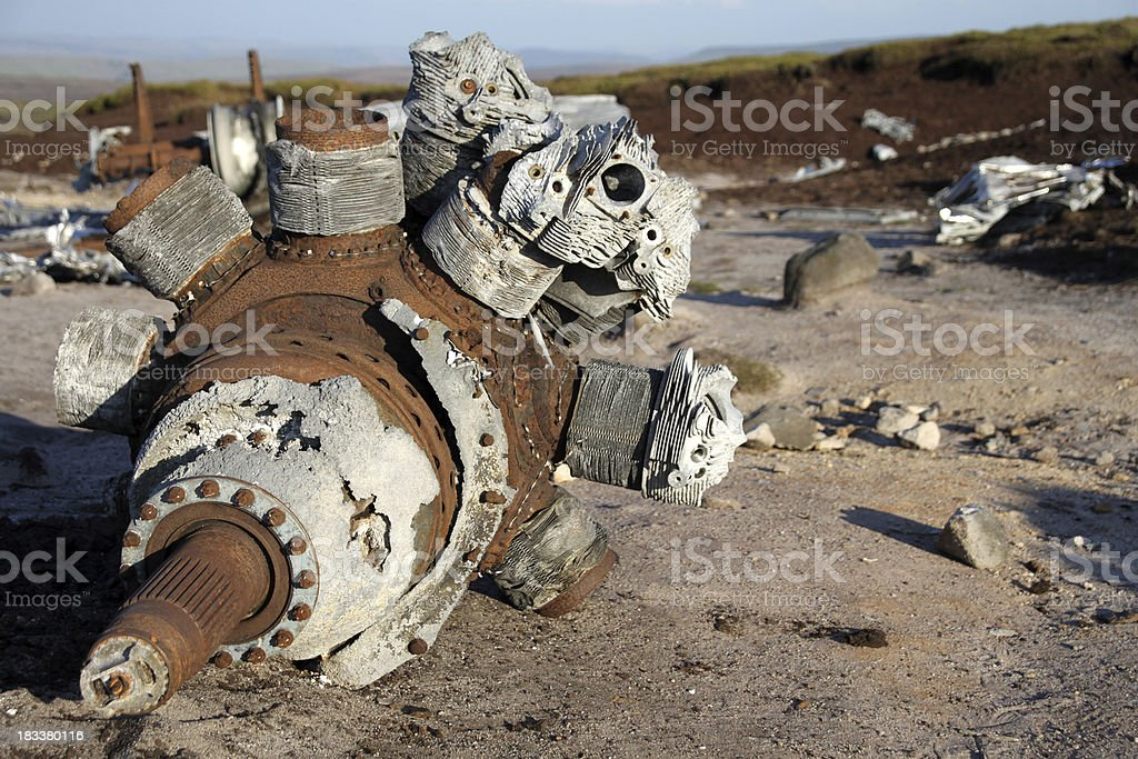 Aircraft engine wreckage stock photo