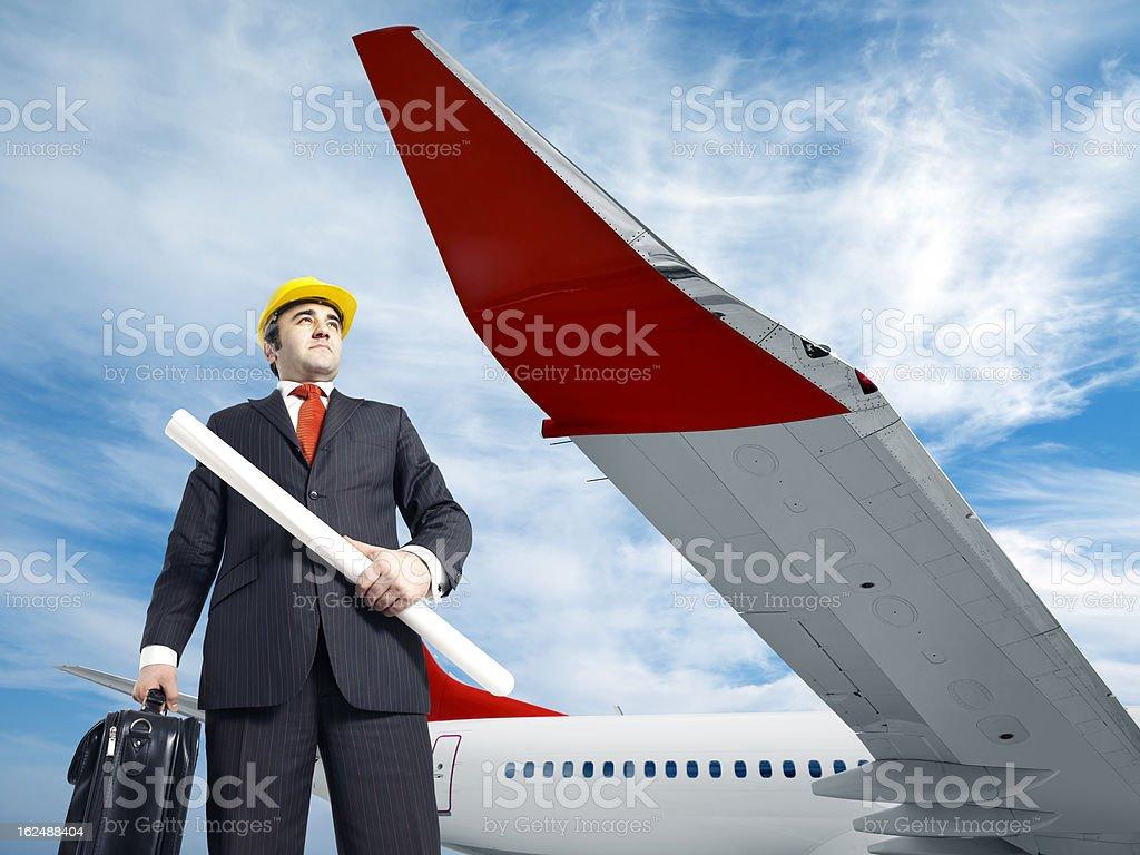 Aircraft engineer at the airport royalty-free stock photo