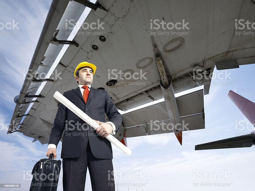Aircraft engineer at the airport royalty-free stock photo