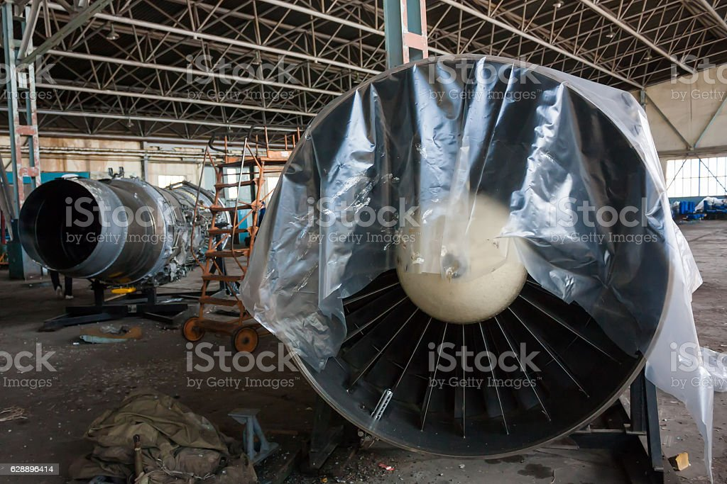Aircraft engines in the hangar royalty-free stock photo