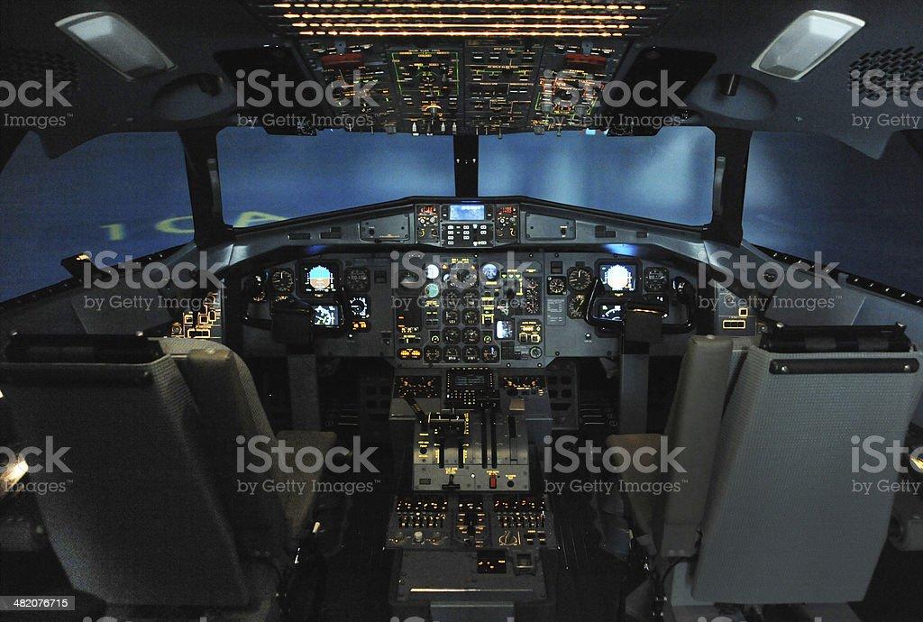 Aircraft Flight Simulator Cockpit stock photo