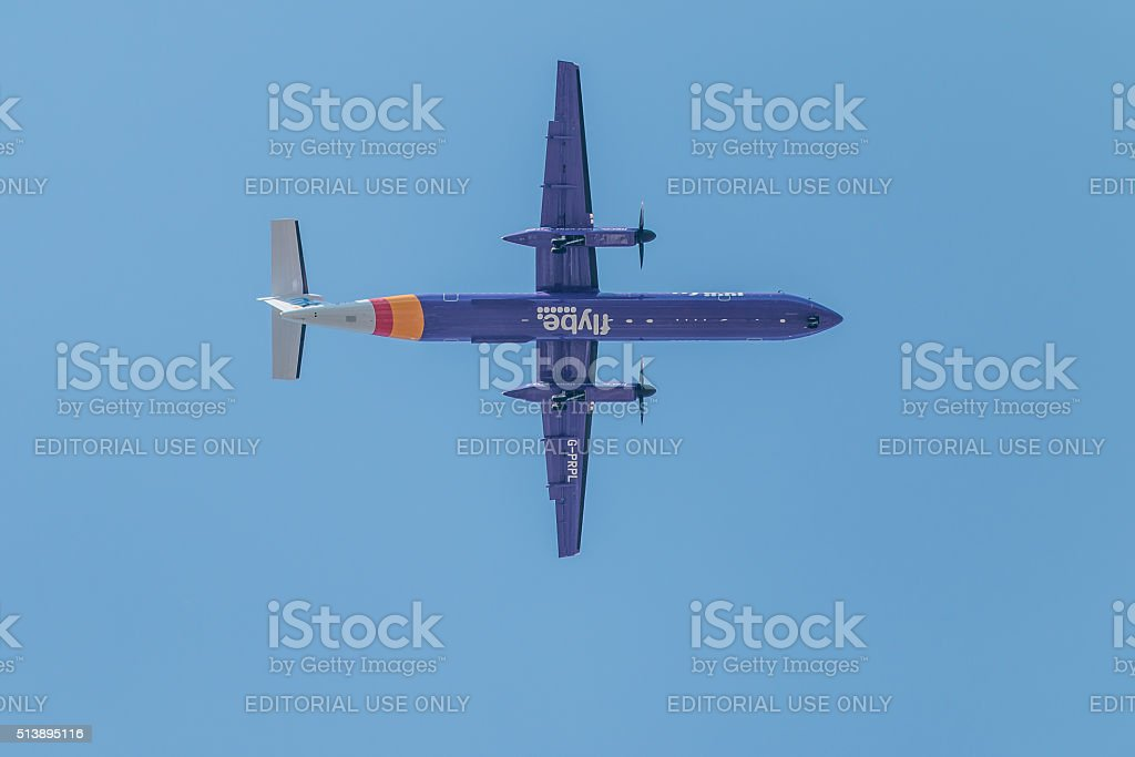 Aircraft flying above stock photo