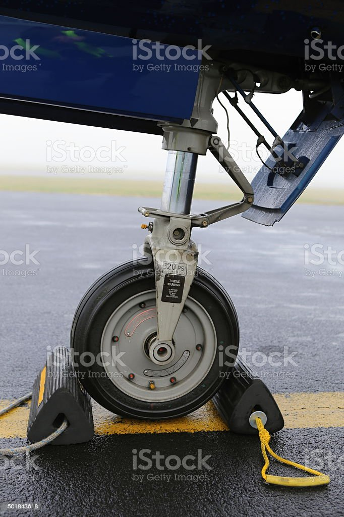 Aircraft front wheel stock photo