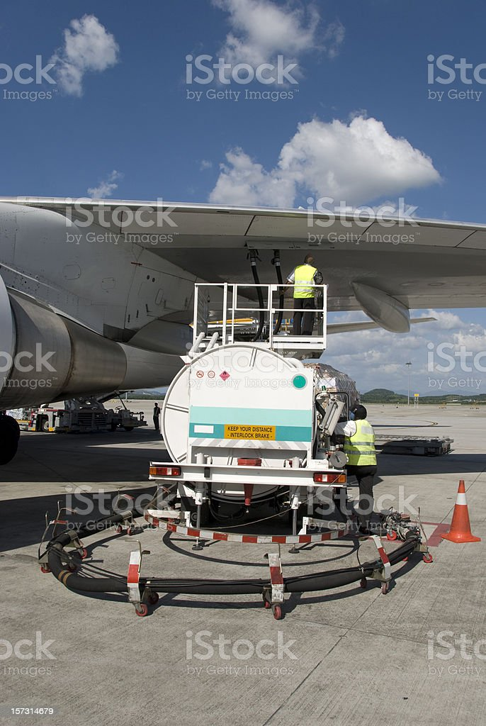 Aircraft fuelling royalty-free stock photo