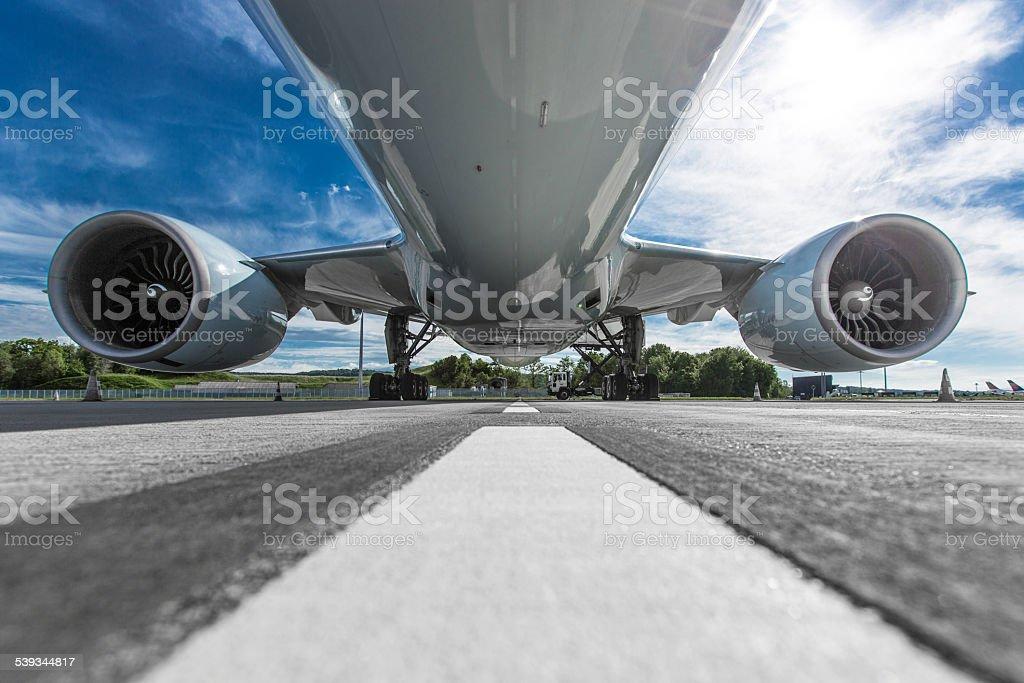 Aircraft fuselage stock photo