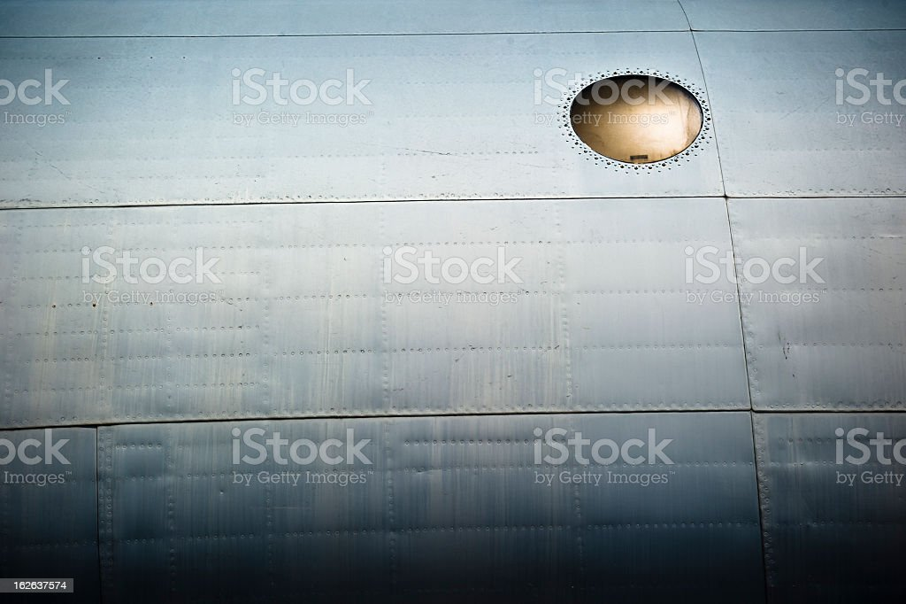 Aircraft fuselage with window stock photo