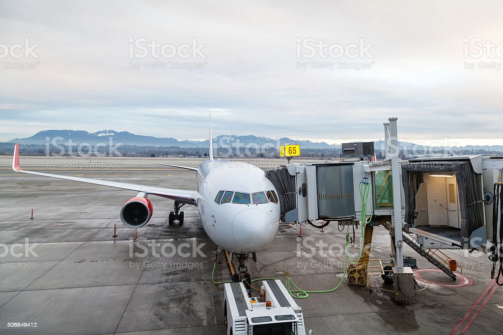 Aircraft Ground Handling at the Airport Terminal stock photo