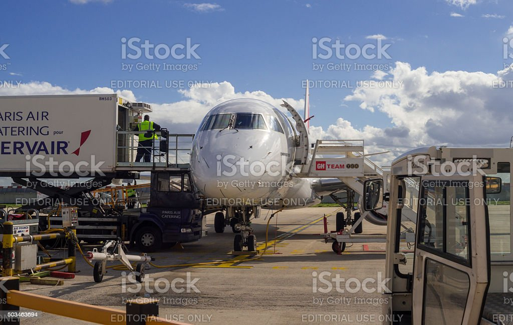 Aircraft handling at airfield in Paris Airport stock photo