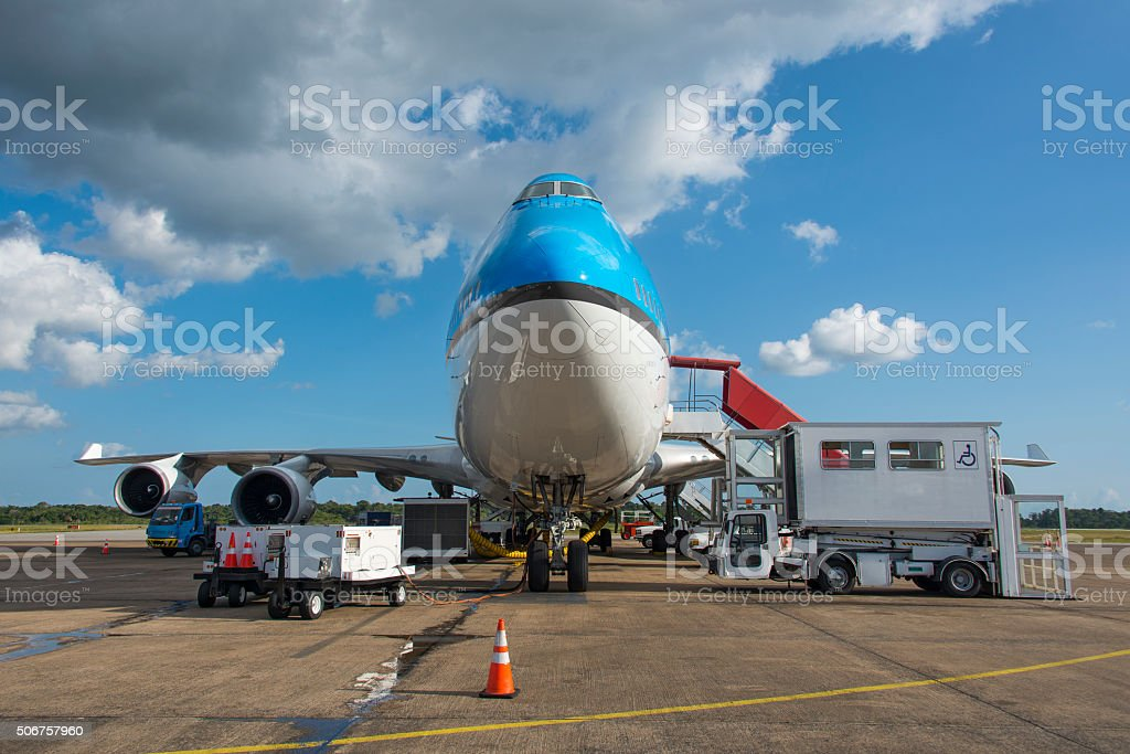 Aircraft handling at an airport frontal view stock photo