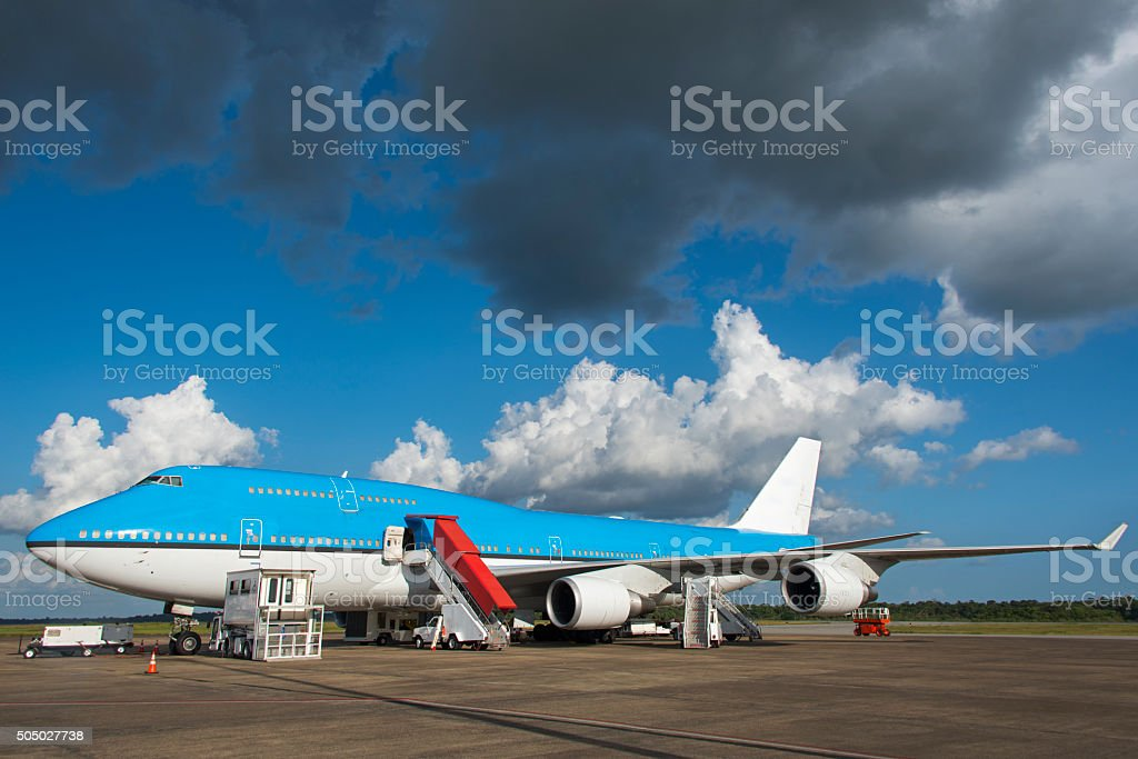 Aircraft handling at an airport stock photo