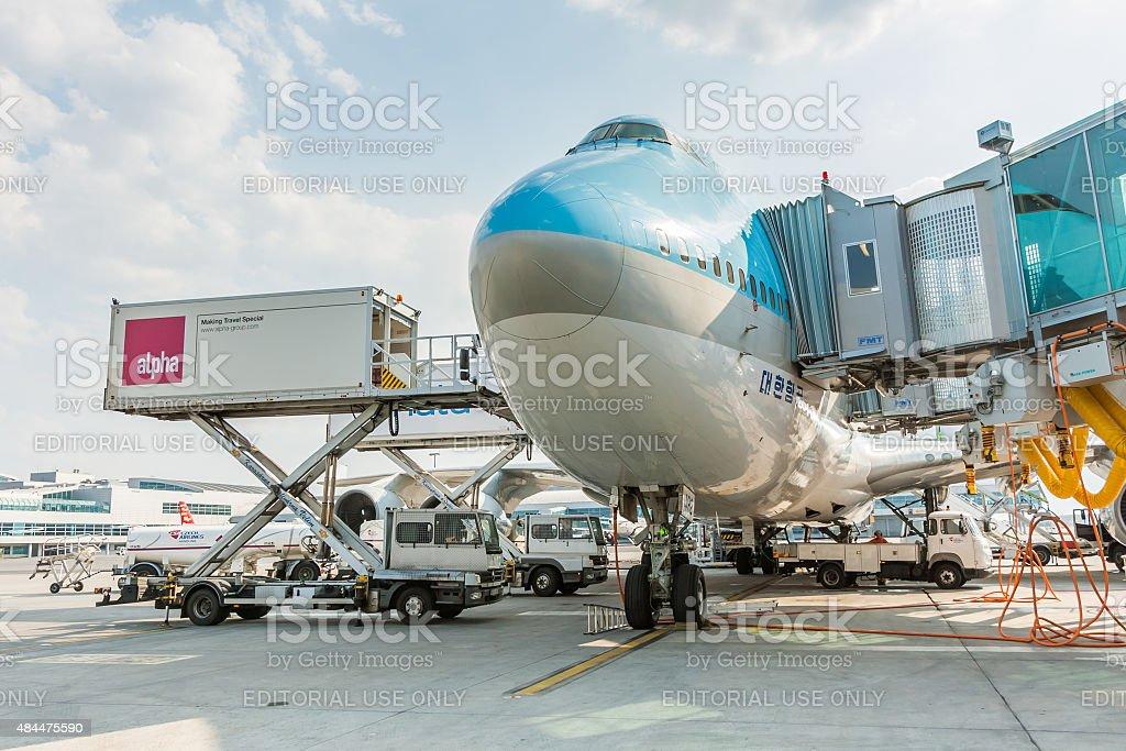 Aircraft handling at the airport stock photo