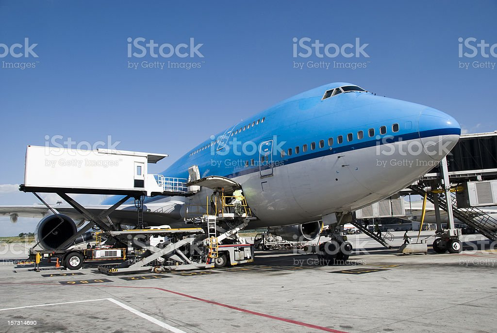 Aircraft handling of a boeing 747 royalty-free stock photo