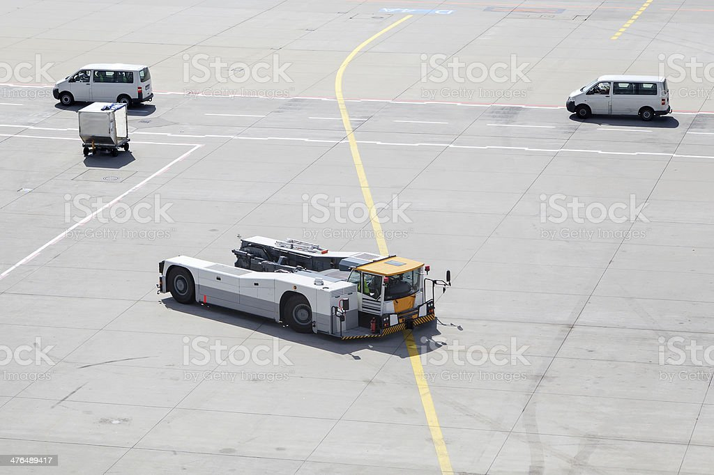 Aircraft handling vehicle at the airport stock photo