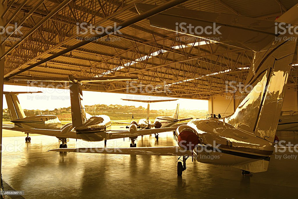 aircraft hangar stock photo