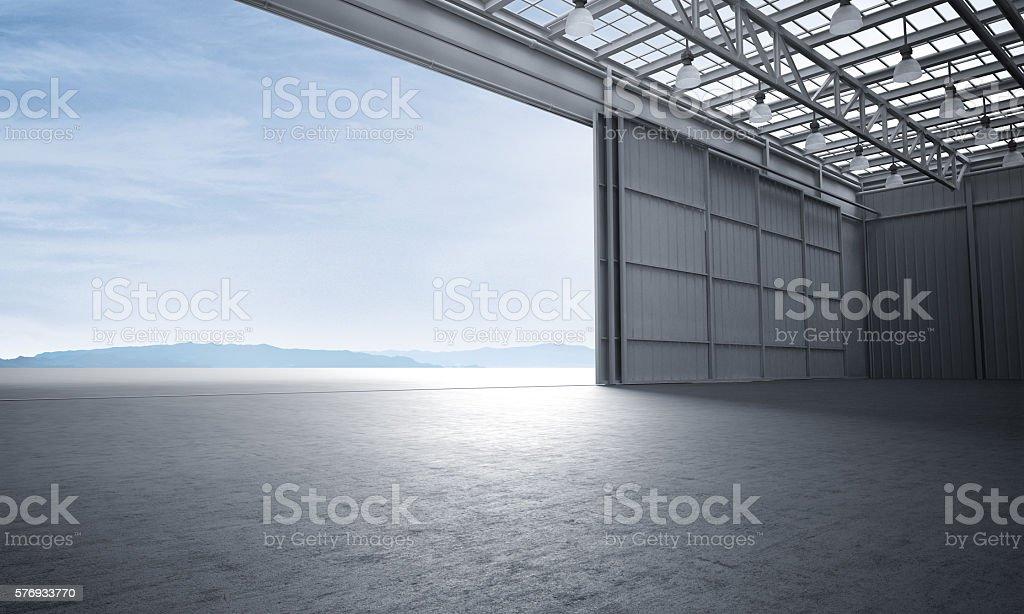 Aircraft hanger door open car stage 3D illustration stock photo