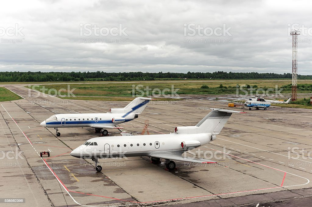 aircraft in airport stock photo