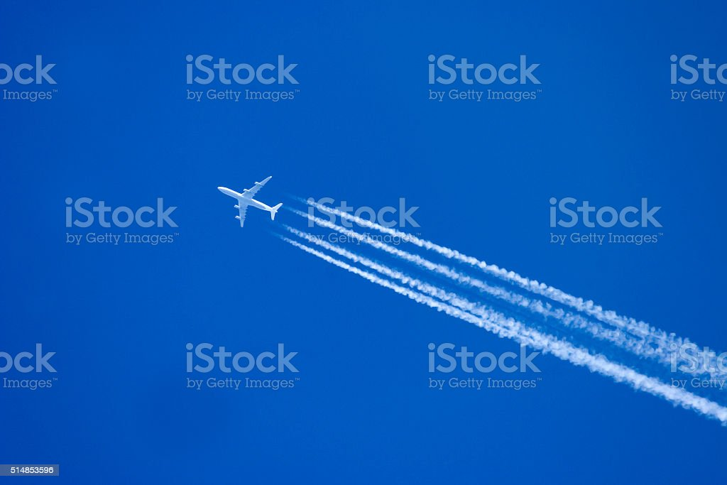 Aircraft in flight stock photo