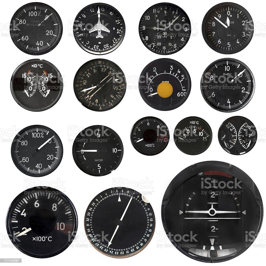 Aircraft instruments stock photo
