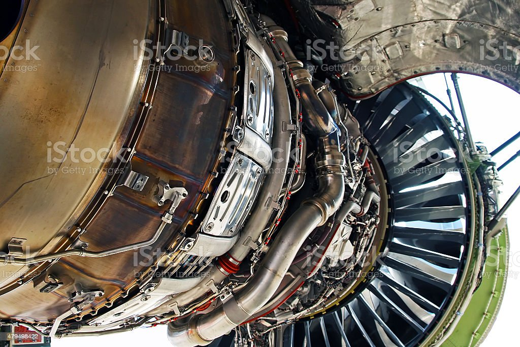 Aircraft Jet Engine Interior stock photo
