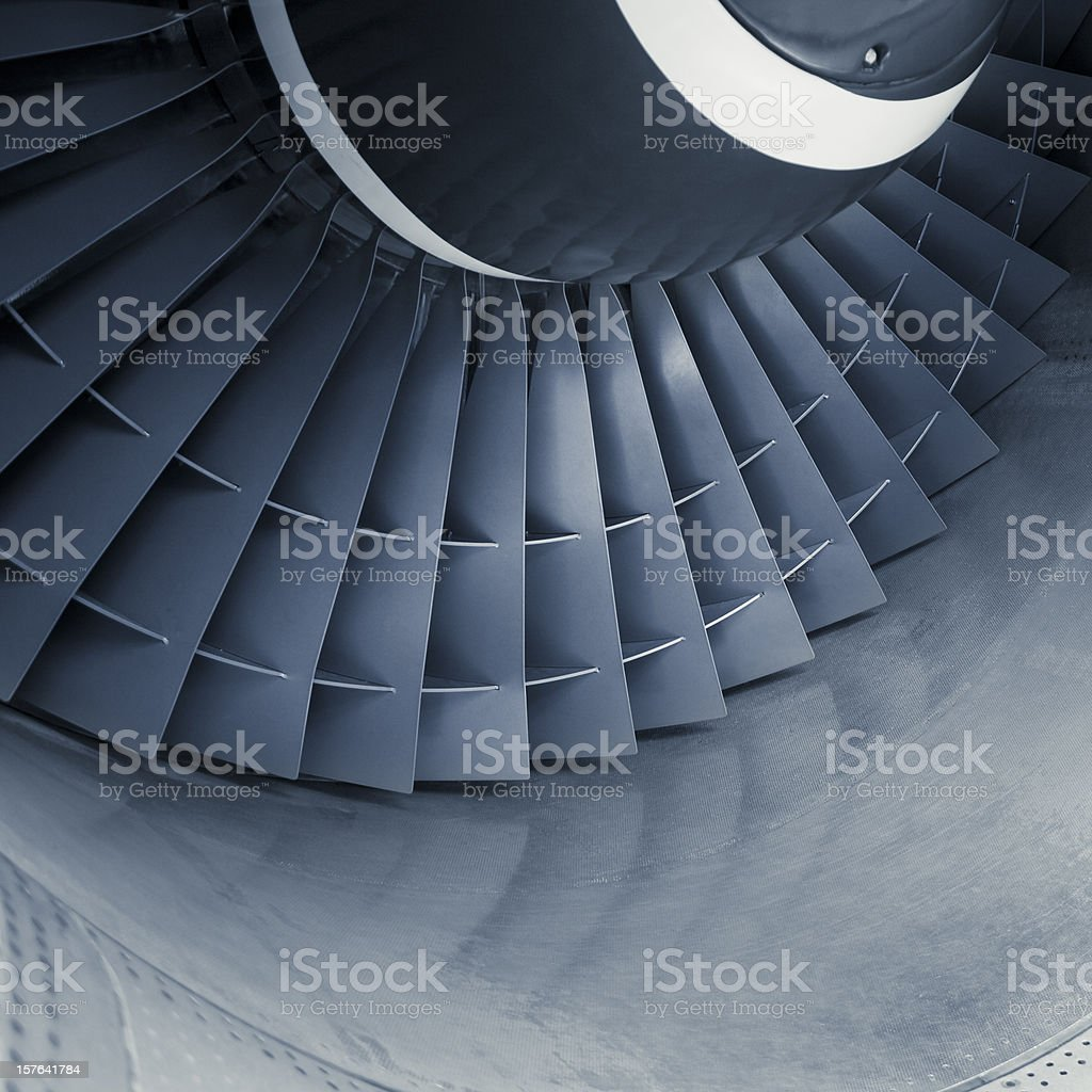 Aircraft jet engine turbine stock photo