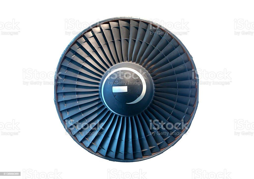 Aircraft jet engine turbine stock photo