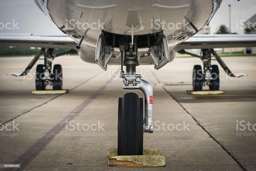 Aircraft Landing gear - Business Jet stock photo