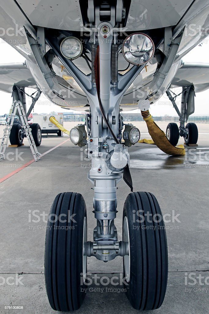 Aircraft landing gear stock photo