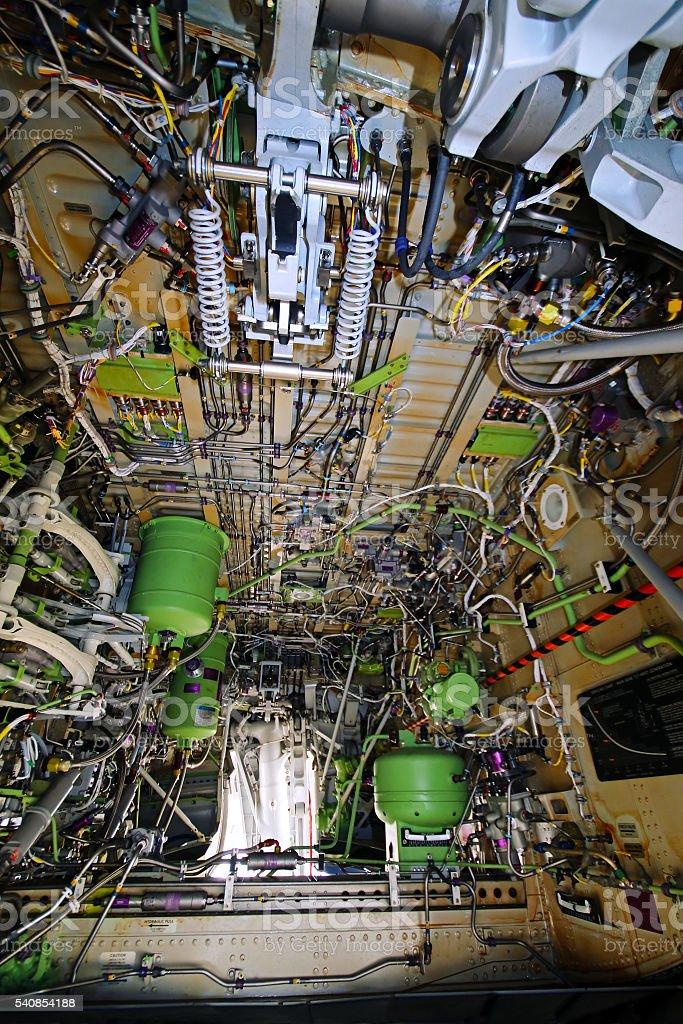 Aircraft landing gear wheel well stock photo