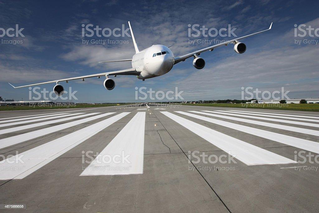 Aircraft low pass stock photo