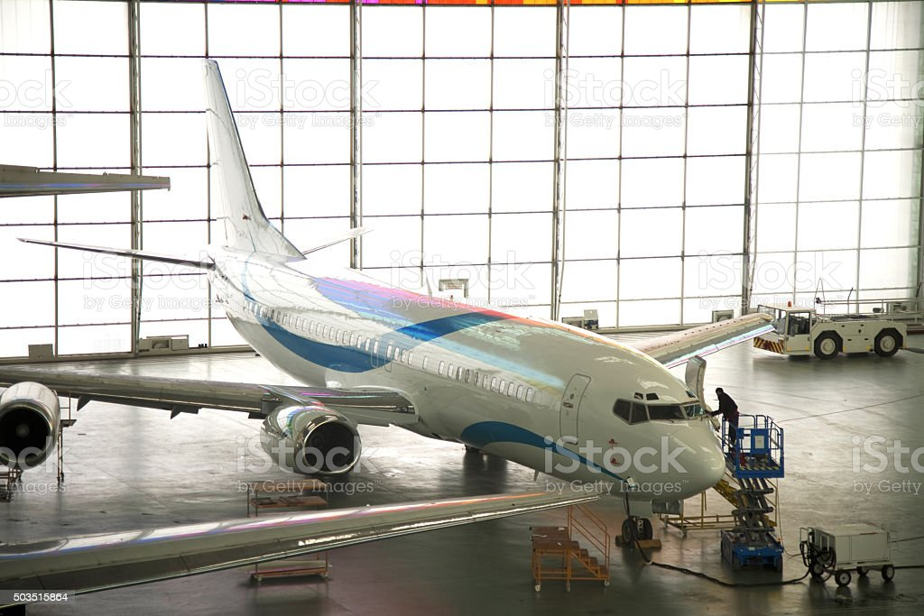 Aircraft maintenance stock photo