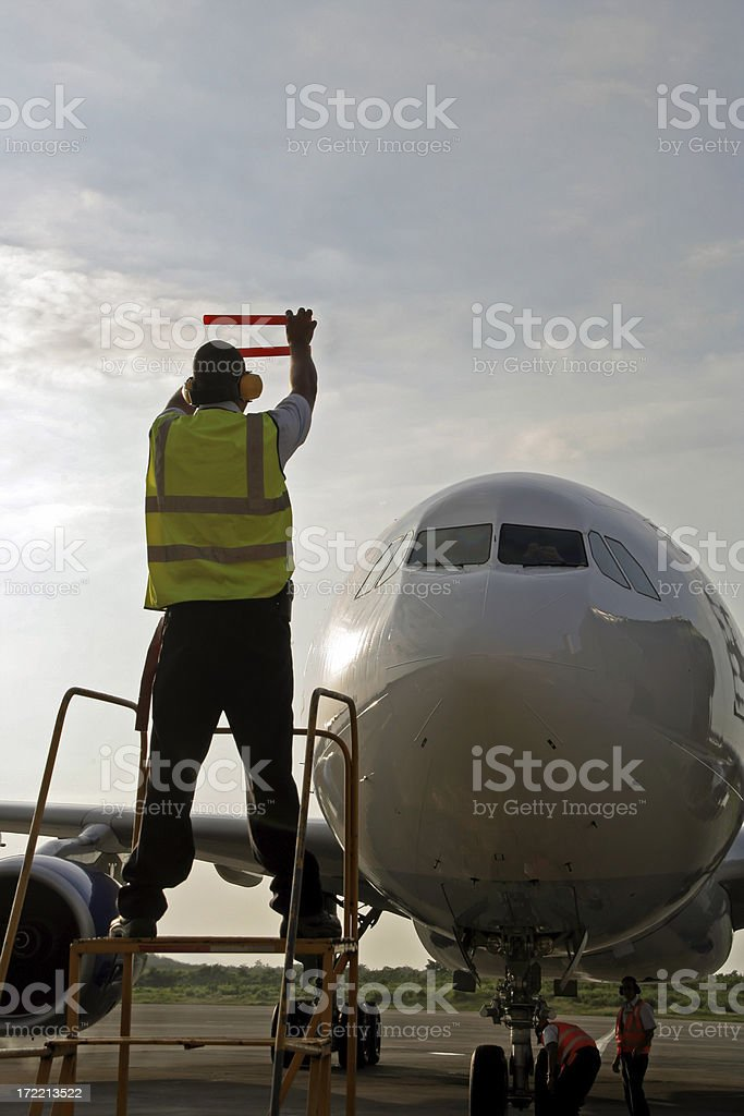 Aircraft Marshaling stock photo