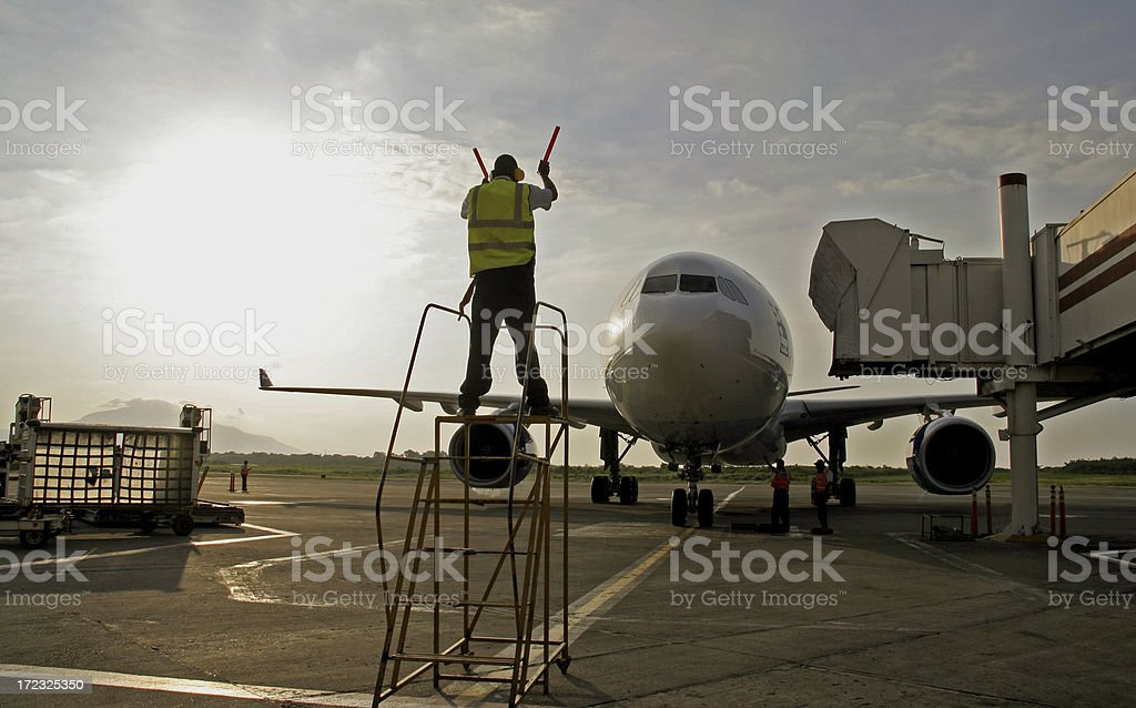 Aircraft Marshalled onto Stand stock photo