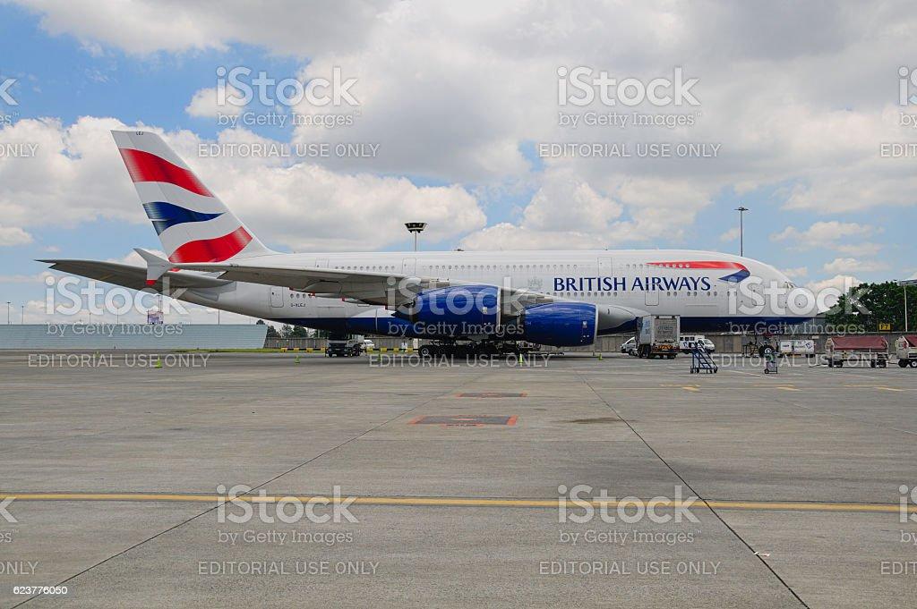 Aircraft of British Airways at OR Tambo International Airport, Johannesburg stock photo