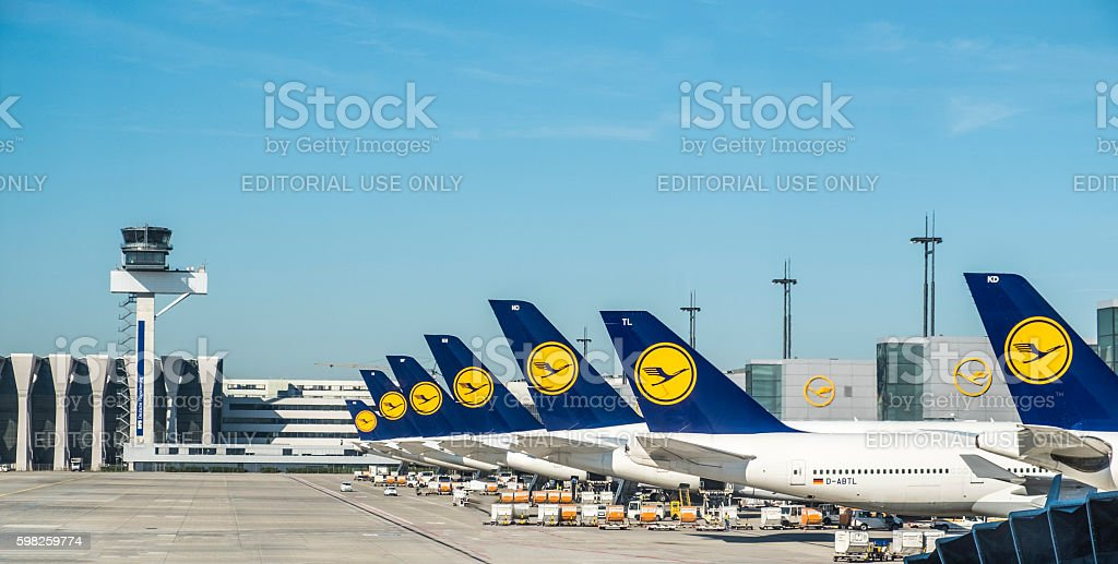 Aircraft of the Lufthansa company at the Frankfurt International stock photo