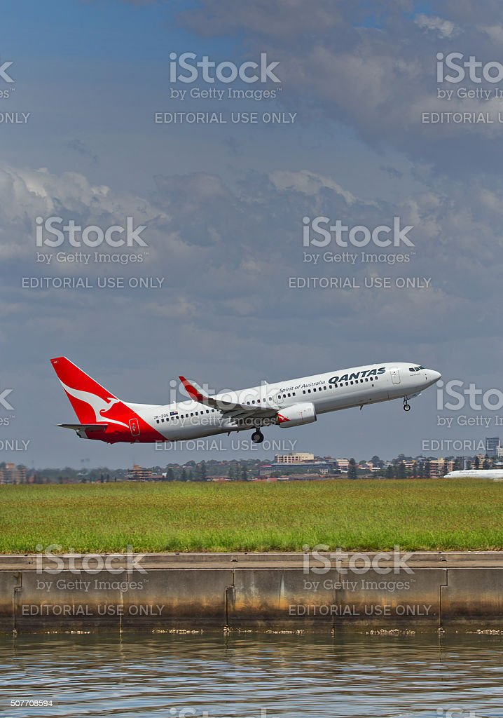Aircraft on the runway at Sydney Airport stock photo