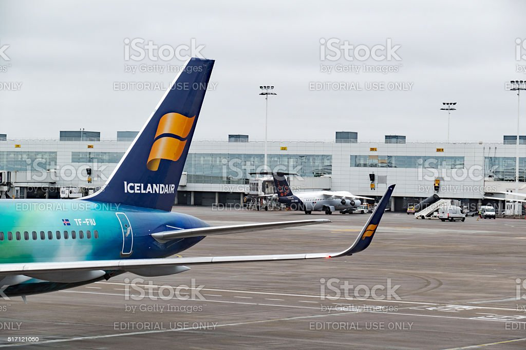 Aircraft on the tarmac at Brussels Airport,Belgium stock photo